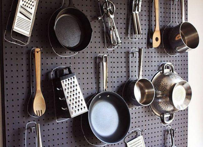 Pegboard para organizar cocina