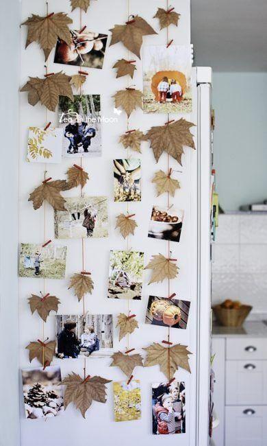 Colgar fotos con hojas de árbol