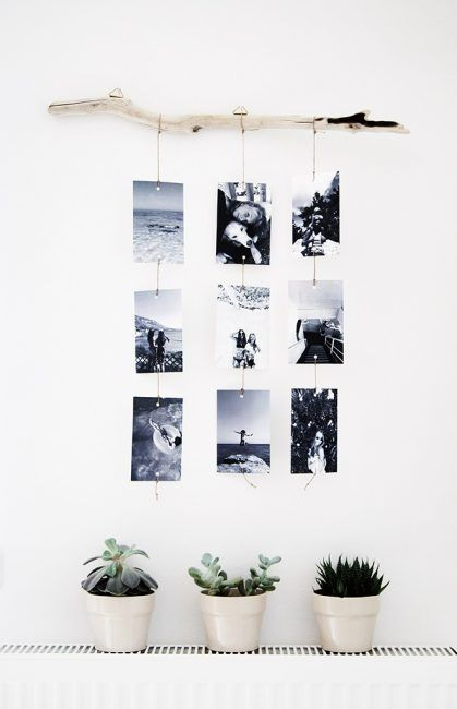 30 ideas para decorar una habitaci n con fotos - Colgar espejo pared sin marco ...