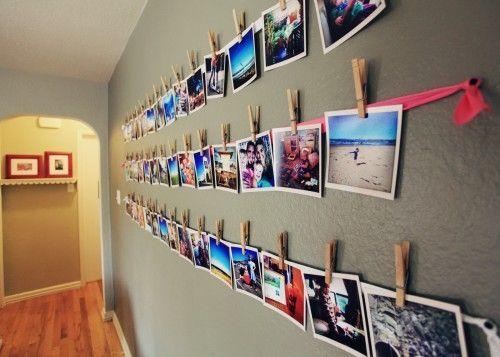 idea para poner fotos en tu habitacin con un trozo de tela