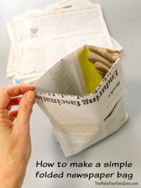 Bolsitas hechas con papel de periódico