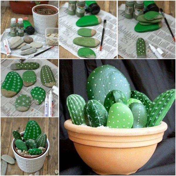 cactus con piedras pintadas