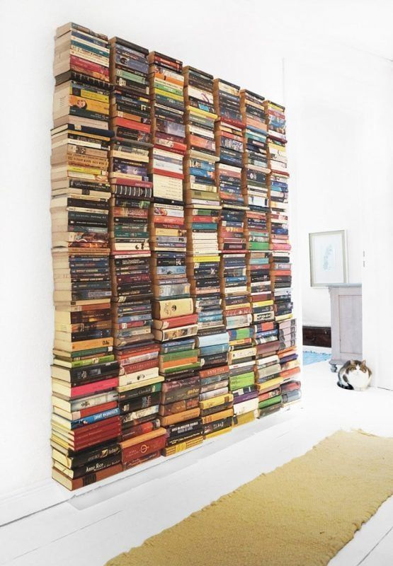 Estantes invisibles para libros - pared completa