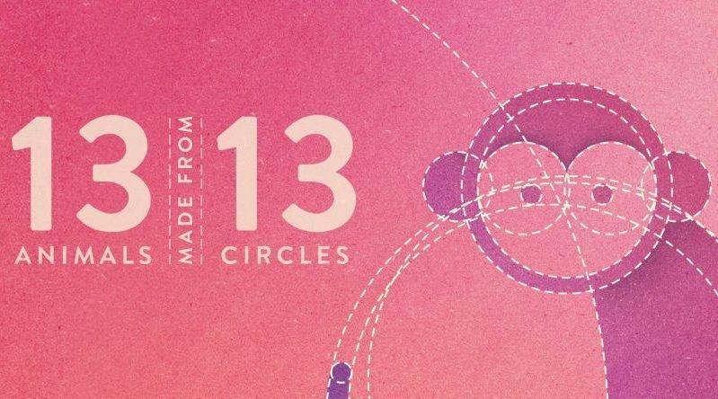 13 animales hechos únicamente con 13 círculos