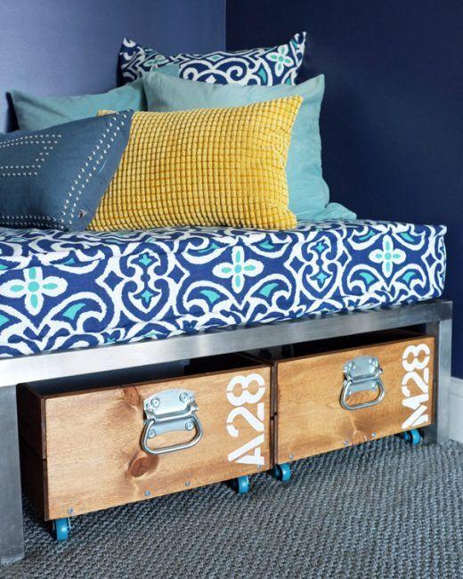 Cajas de madera para almacenaje bajo la cama