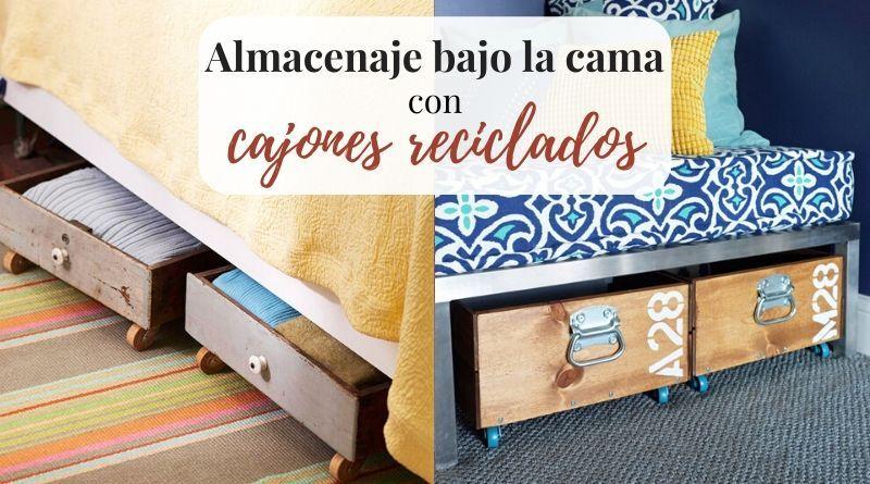 Consigue espacio bajo la cama con cajones reciclados