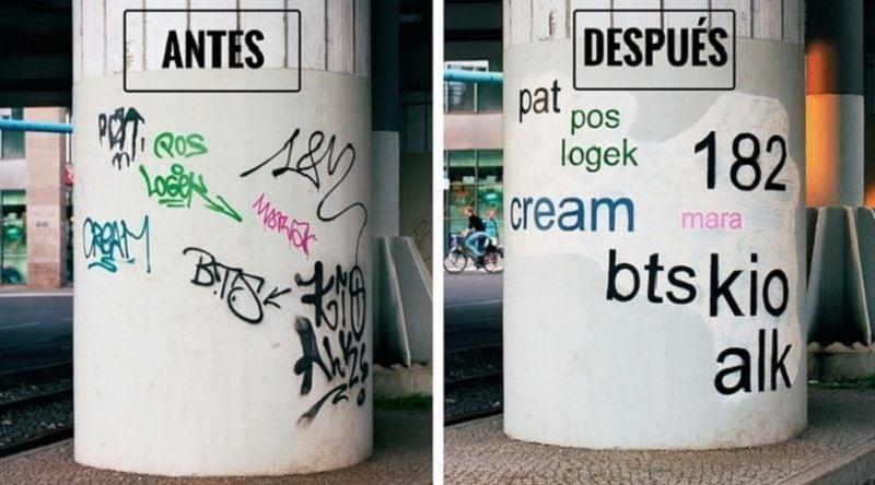 Mathieu Tremblin, el artista que cambia la fuente de los graffitis para que se puedan entender
