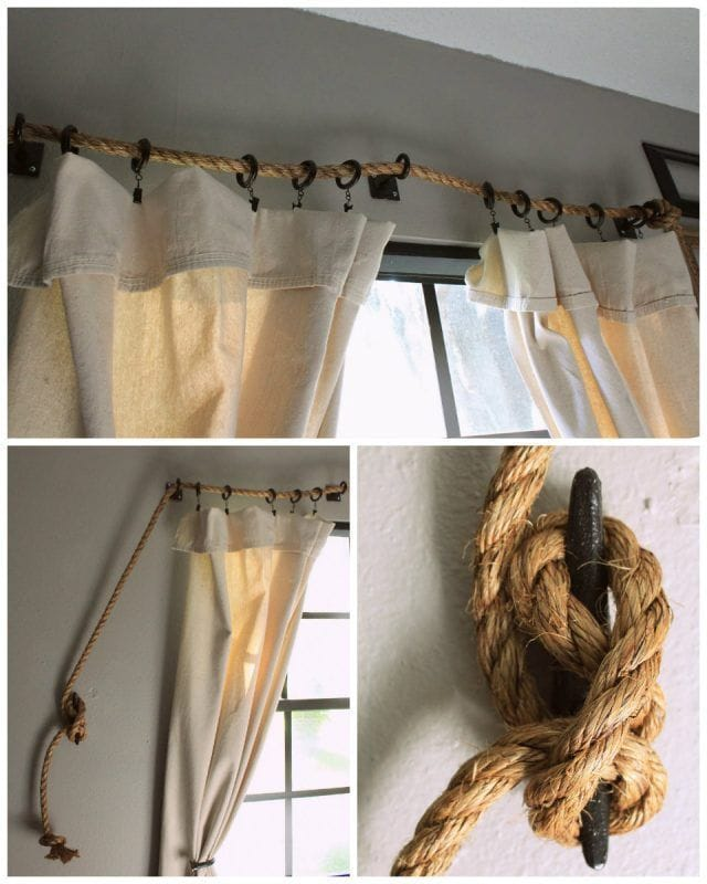 barras de cortinas originales - cuerda