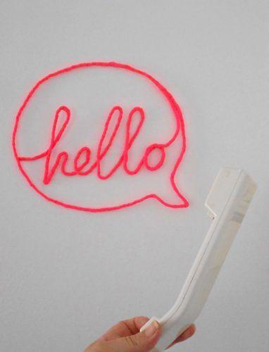 Letras decorativas de trapillo y alambre - hello