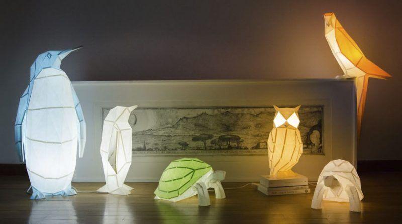 Lámparas con forma de animales de origami, por OWL paperlamps