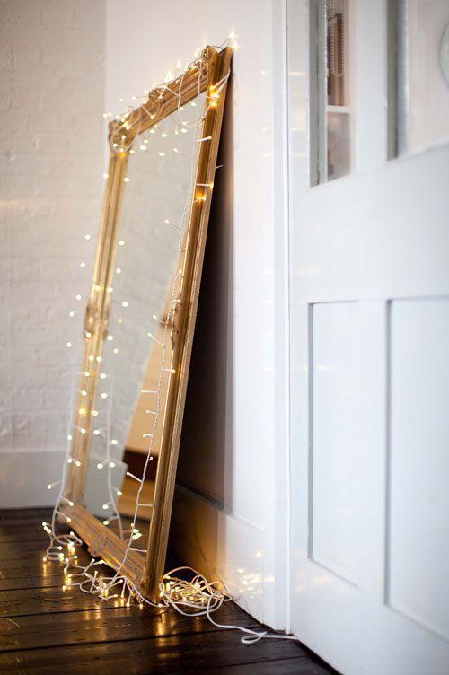 luces para decorar tu habitación - espejo