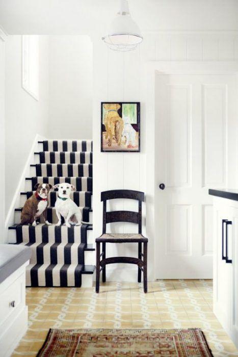 Decoración de escaleras interiores - alfombra