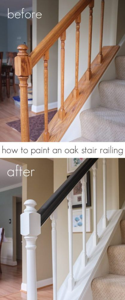 Decoración de escaleras interiores - pintar barandilla