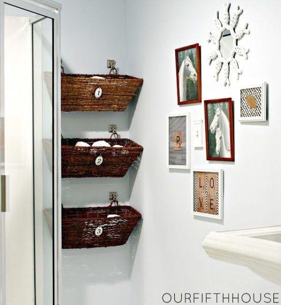 Ideas para baños pequeños - cestas