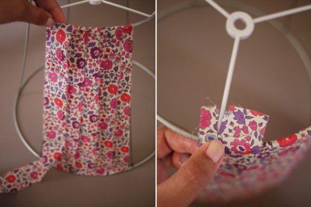 Cómo hacer una pantalla de lámpara con tiras de tela