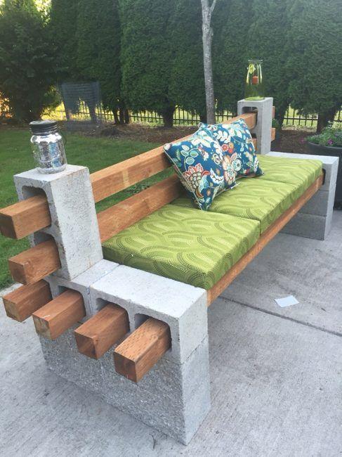Hacer banco para terraza con bloques de hormigón