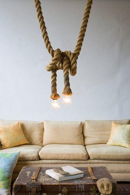Lámparas de cuerda anudadas