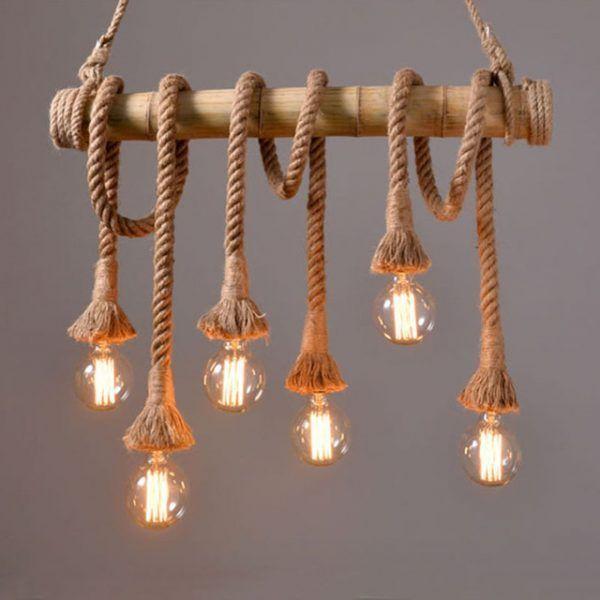 Lámparas de cuerda en soporte da bambú