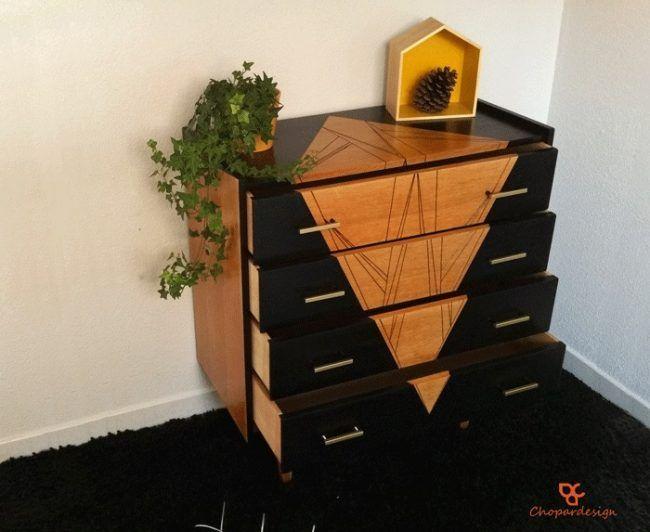Cómo decorar una cómoda - forma geométrica