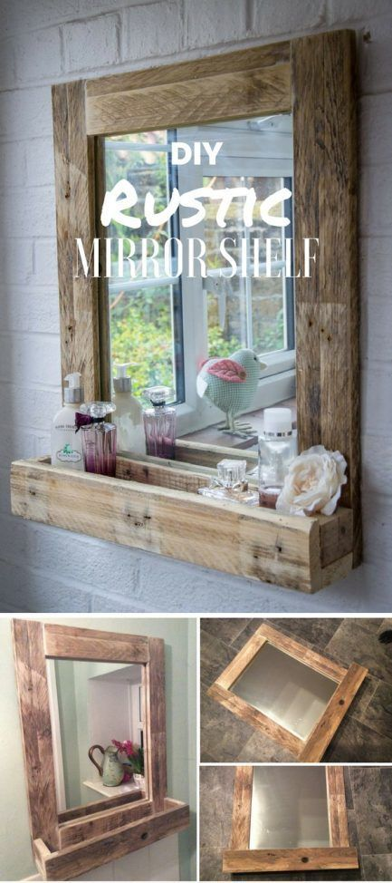 Espejo con balda de madera