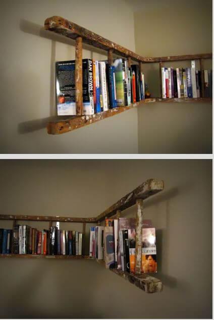Escalera de madera para guardar libros