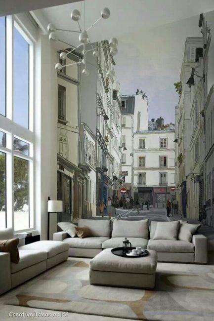 Mural de papel pintado para salas pequeñas