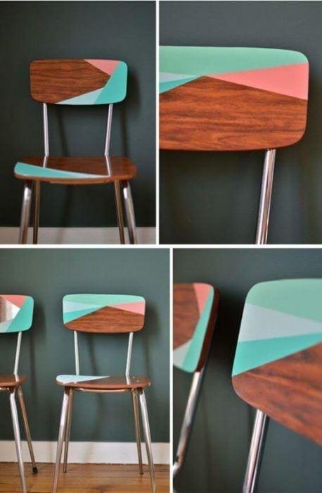 Sillas de madera pintadas