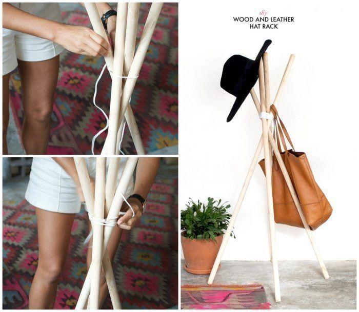 Cómo hacer un perchero de pie con cuerda y palos