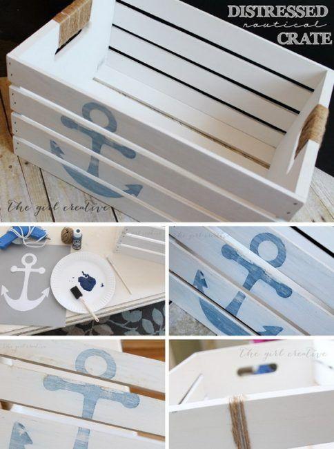 Decoración náutica de una caja de madera