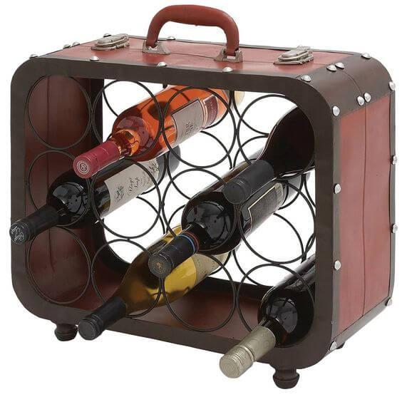 Botellero con maleta reciclada