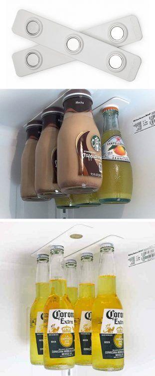 Ganar espacio en la nevera con imanes para las botellas