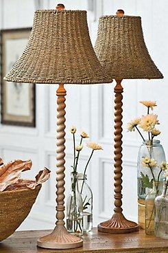 Lámparas de mimbre de mesa