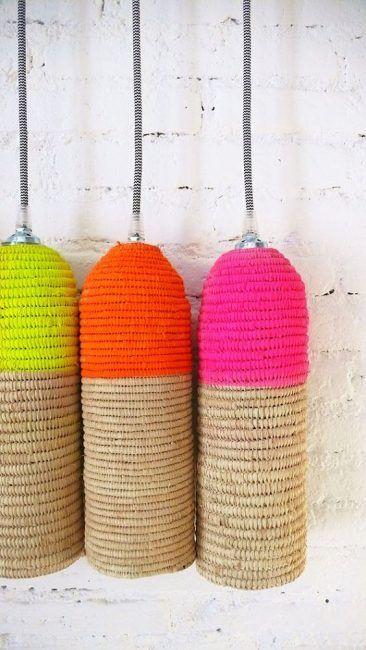 Lámparas de mimbre pintadas