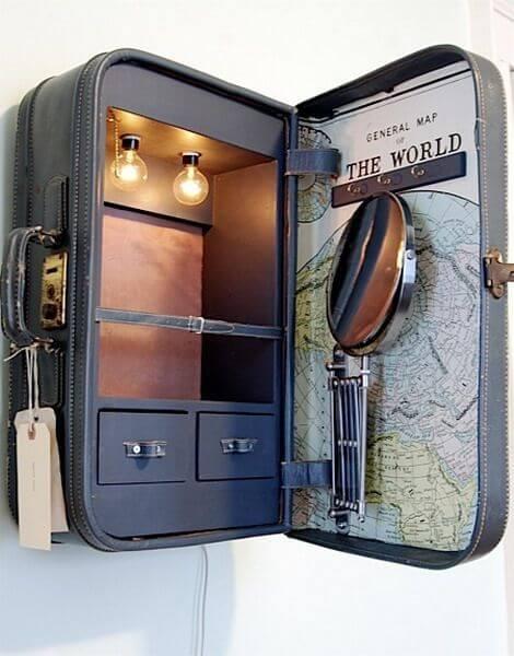 Tocador hecho con una maleta