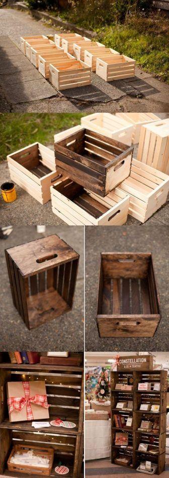 Cajas de madera con barniz