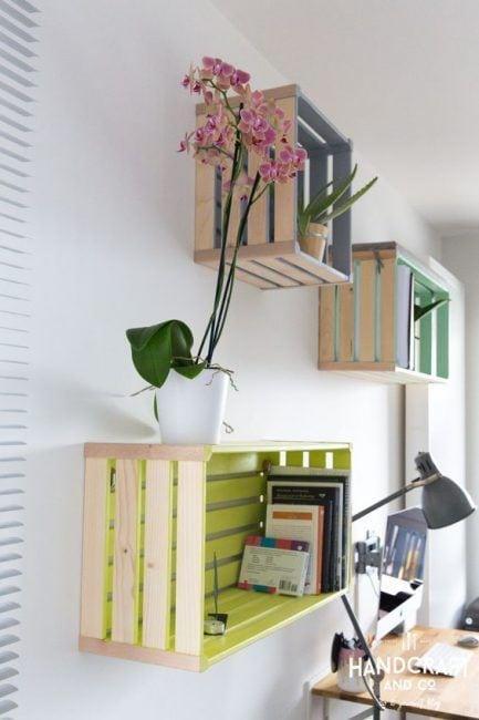 Cajas de madera pintadas