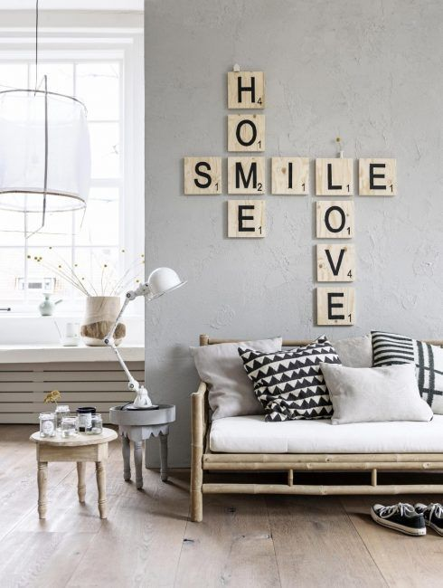 Decoración con letras de Scrabble