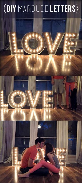 Decoración con letras luminosas