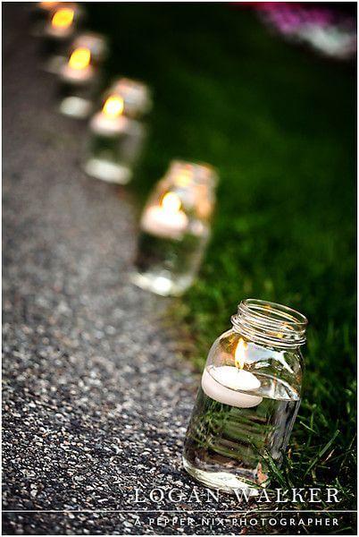 Decoración con velas para el jardín