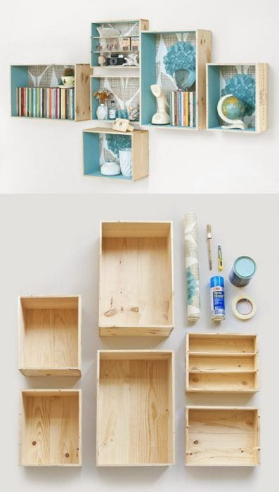 Decoración de cajas de madera con papel pintado