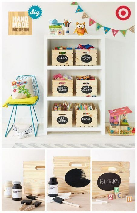 Decorar cajas de madera con pintura de pizarra