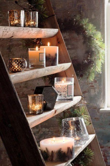 Escalera con velas para decorar