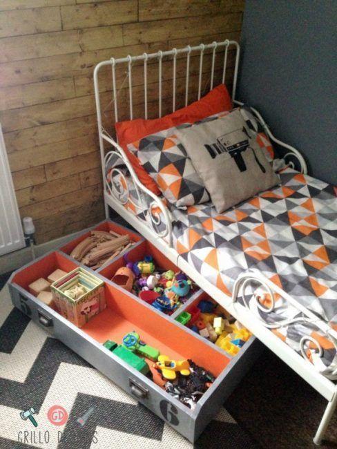 Ideas para guardar juguetes bajo la cama