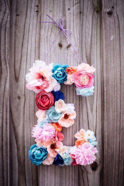 Letras de flores decorativas
