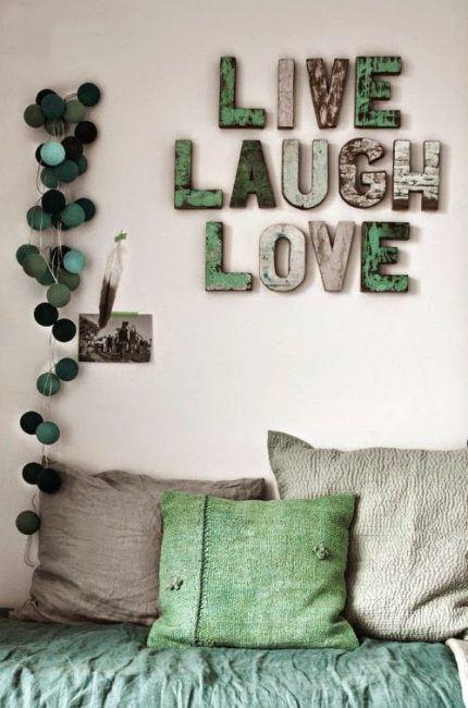 Decorar con letras 18 ejemplos para tu casa - Madera para paredes ...