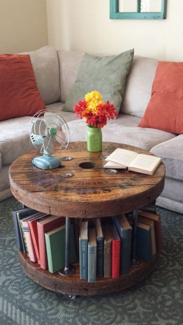 Mesa salón con bobina de cable de madera