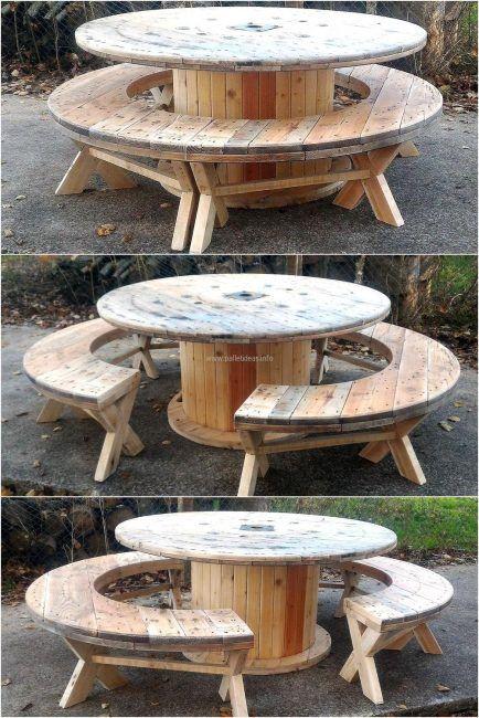 Mesas hechas con bobinas de cable