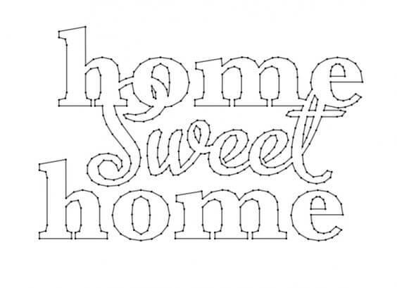 Patrón Home sweet home para cuadros con hilos