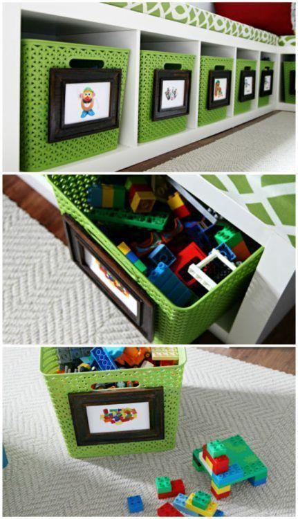 Cajas con fotos para guardar los juguetes