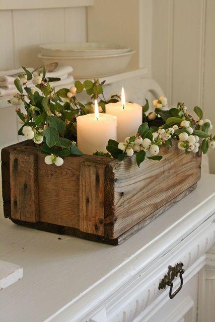 Velas en caja de madera